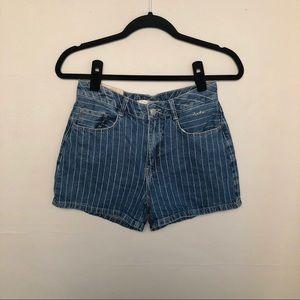 Zara | Pin Stripe Hi Rise Jean Denim Shorts